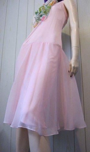 Vintage 70s Dancing Girl Ballerina Pink Fluttery Chiffon Elegant Party Dress L