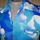 KOOL Blue Vintage Hawaiian Print Hibiscus Floral Mens Lounge Cruise Shirt Size M 60s 70s
