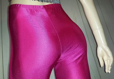 ELECTRO GLAM vintage 90s HOT NEON PINK Skinny SPANDEX Pants Leggings skin tight L.