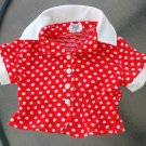 Vintage 70s Red Polka Dot Print Acrylic Children's Girl's Top Sz 4 SEARS