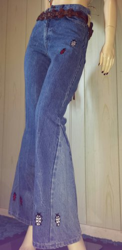 90s does 70s Vintage LEVIS Bell Bottom DENIM BLUE JEANS w Ladybugs Hippie Girl XS NWT