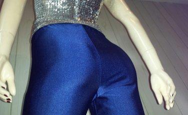 ELECTRO GLAM vintage 90s BLUE Skinny SPANDEX Pants Leggings skin tight XL.