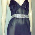 70s DISCO Vintage Vamp Glitzy Glitter Glam Slinky Black Slip Dress Gown L.