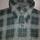 Vintage 70s Rockabilly Country Western Bluegrass Green Plaid Men's Shirt Size M 15-15 1/2