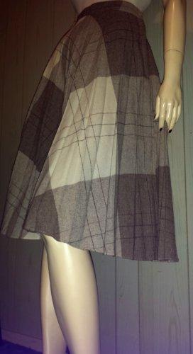 Vintage 70s School Girl Brown Plaid High Waisted Pleated Wool Skirt S.