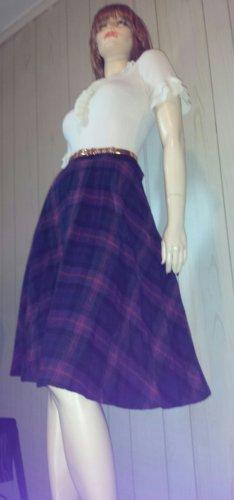 Vintage 70s School Girl Navy Blue Plaid High Waisted Pleated Wool Skirt S.