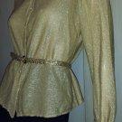 Vintage 70s Glitter Girl Gold GLAM Shimmer LUREX Blouse Sz S/M