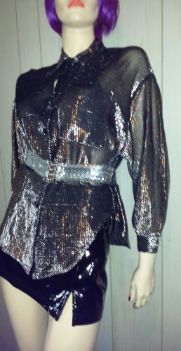 Vintage 70s Glam Sparkly Silver Metallic Shimmer Blouse Top Sz M