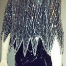 Ultimate GLITZY GLAM Vintage Silver Sequin FLAME Hem Beaded Silk DISCO PARTY Top S/M 70s 80s