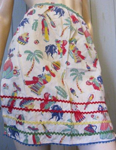 Vintage 50s Housewife Mexico Spain Motif Artsy Novelty Print Cotton Apron