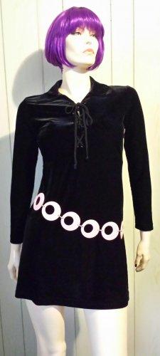 80s does 60s MOD Black Velvet Goth GO GO Girl Babydoll Minidress M.