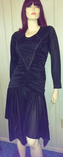 80s Diva Ruched Formfit Ultimate GLAM Rhinestones & Lace Sexy Black Party Dress 7/8 S.
