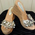 RETRO DISCO BOHO BABE Shimmery Silver Bling Cork Wedge Sandals Shoes NEW Sz 9