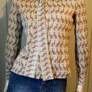 Vintage 70s Doberman Pinscher Dog Lover Novelty Print Tie Neck Shirt Top M