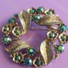 Vintage 50s Ice Blue Aurora Borealis Shimmering Rhinestone Crystal Wreath Brooch Pin