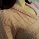 Vintage 80s Baby Pink Puff Sleeve Pointelle Knit Acrylic Sweater Top L