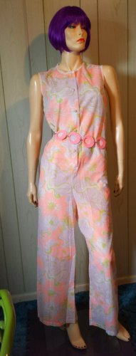 GO MOD Vintage 60s Pastel PSYCHEDELIC Palazzo Wide Leg Jumper Jumpsuit Lord & Taylor FRANCE M.