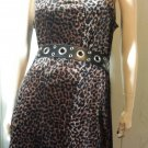 FIERCE Leopard Cat Print Velvet Sleeveless Mini Dress Sz L