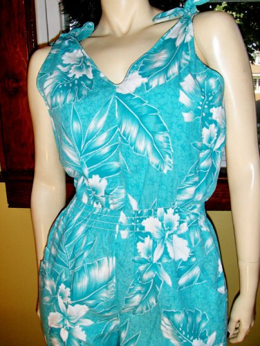 Vintage 80s Hawaiian Turquoise Tropical Floral Print Skinny Jumper Jumpsuit L.