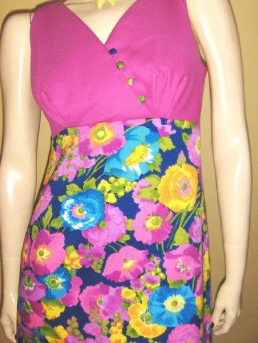 ALOHA Psychedelic MOD 60s 70s LUDI'S Hawaiian Floral Maxi Dress S/M