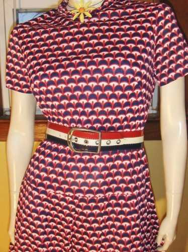 FAB 60s 70s Trippy OP ART RED WHITE & BLUE Patriotic Colors Groovy Dress M
