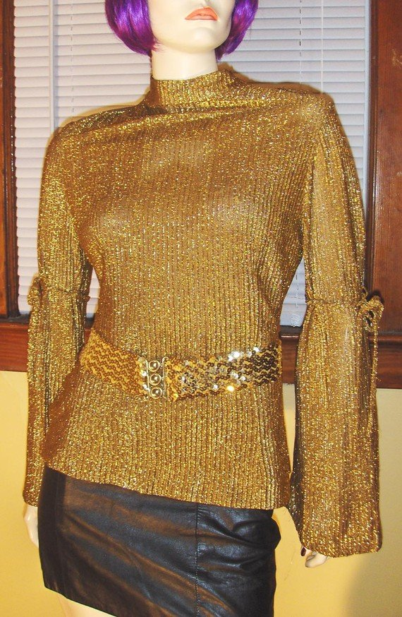 60s MOD SPACE GIRL Bell Sleeve Metallic Gold Glitter GLAM Lurex Party Top M