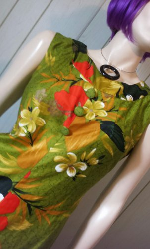 Vintage 60s Sears Hawaiian Fashions Tropical Floral Print MOD Hawaiian Style Maxi Dress M
