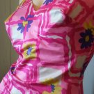 Vintage 60s Perfection Fit by ROXANNE Perky Pinup Pink Floral Print One Piece Swimsuit  Sz 14/36C
