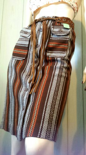 828d509abf3 Vintage 60s SEARS Groovy Boho Hippie School Girl Brown Plaid Belted A-line  Skirt NWT MINT XS