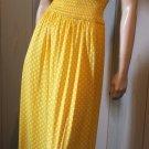 Vintage 70s Pinup Yellow Polka Dot Maxi Sundress S