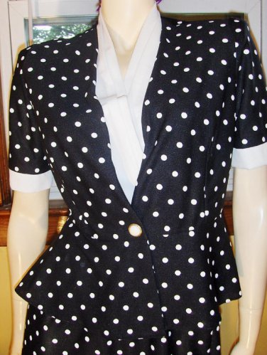 Pinup Vintage 80s Sexy Secretary Polka Dot Pencil Skirt & Top  2-Piece Outfit S 6P