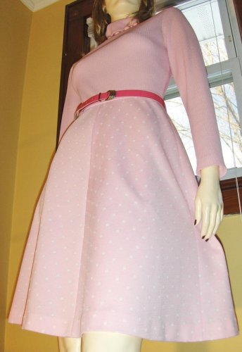 MOD LOLITA PURRfectly Pink Vintage 60s 70s Aline Mini Dress S/M