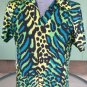 90s Wild Neon Animal Leopard Print Men's Spandex Shirt rock star wannabe L