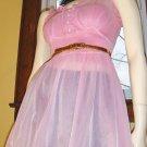 FLIRTY Mod Lolita Sheer Frilly PINK Chiffon double Nylon Babydoll  Sz 34 Small vintage 60s glam