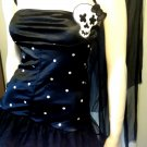 Sexy GOTH PRINCESS Wicked Black Angel  Costume Dress w/ Black Wings M/L