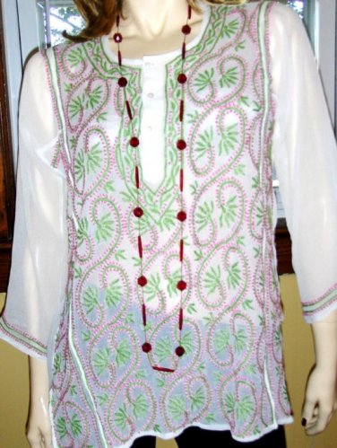 60s 70s Boho Hippie Girl Sheer Embroidered Vintage Tunic Top groovy M.