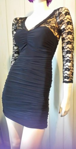 80s Vamp Style Sexy Formfit Body Con Black Ruched Lace Wiggle Mini Dress S.