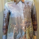 Vintage 70s Photo Print Nature Autumn Scenery Hippie Shirt M