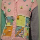 Cutesy Vintage 80s Pastel Candy Colored Patchwork Applique Acrylic Button Down Sweater JORDACHE L