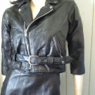 Biker Babe Rockabilly Rocker Girl Black Leather Cropped MC Jacket XS