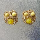 Vintage 50s Yellow Cabochons w/ Aurora Borealis Rhinestone Gold Tone Clip On Earrings glamour girl