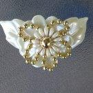 Vintage Flashy 80s Big Flower Beaded Plastic Hair Clip