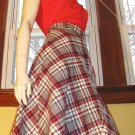 Vintage 70s Schoolgirl Pleated Plaid High Waisted Aline Wool Skirt S/M