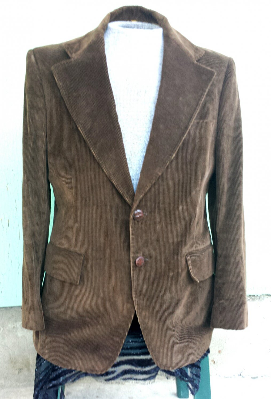 Vintage 70s Tailor's Bench Men's Brown Corduroy Sports Coat Blazer Jacket L