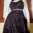 Vintage Vamp Sexy Black Crushed Velvet Babydoll Mini Dress 80s 90s goth glam S.