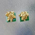 Vintage 80s Gift Wrapped Presents w/ Shimmery Gold Bows Christmas Holiday Clip On Plastic Earrings