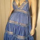 Vintage 70s Boho Cornflower Blue Tiered Ruffle Lace Panels Nylon Nightgown Sz S