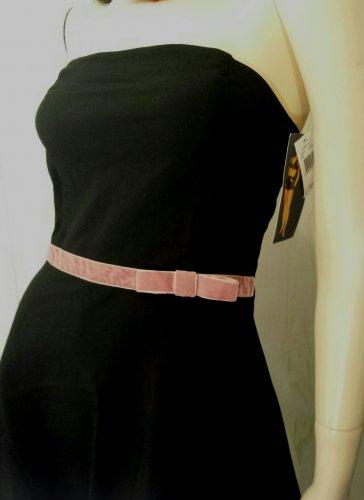 Ruby Rox Black Strapless w Velvet Bow Rockabilly Pinup Doll Retro Party Dress MINT NWT Sz 5