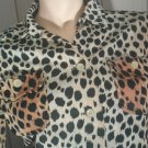 Rockabilly Vintage 60s 70s Leopard Cat Print Button down Shirt Jacket S/M