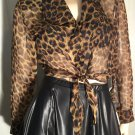 MEOW Sexy Catgirl Vintage 80s Sheer Leopard Print Cropped Tieup Midriff Blouse Top HOT STUFF Sz M